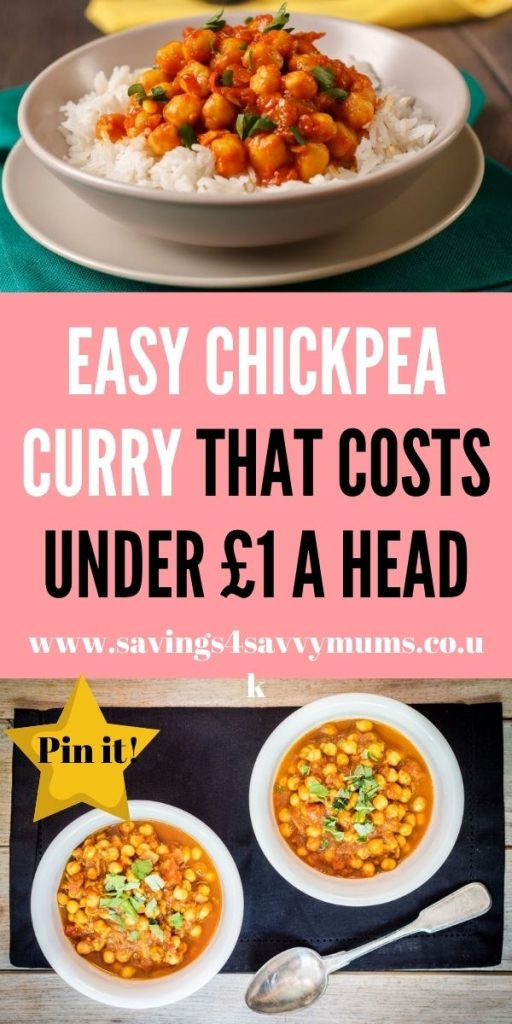 This is an easy chickpea curry that is perfect for the whole family. It comes in at under £1 a head and is easy to make by Laura at Savings 4 Savvy Mums