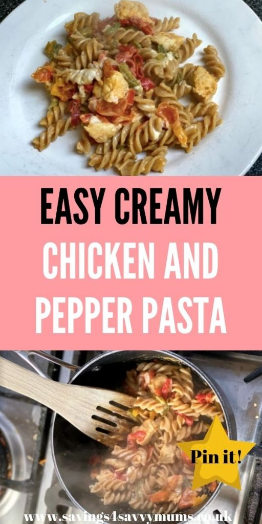 This easy chicken and pepper pasta is a quick family meal that costs under £1 a head for a family of four by Laura at Savings 4 Savvy Mums