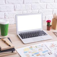A laptop sat on a desk