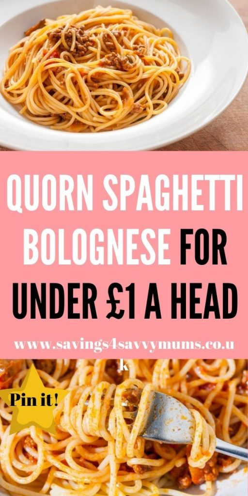 This is the best Quorn spaghetti bolognese that tastes amazing and comes in at under £a head for four people by Laura at Savings 4 Savvy Mums