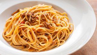Quorn Spaghetti Bolognese in a white bowl