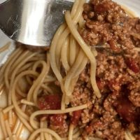 Slimming World Spaghetti Bolognese with fork