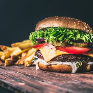 Big burger with chips