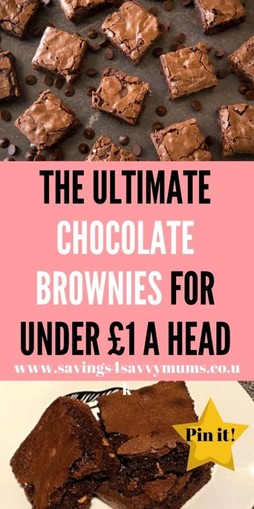 This is the ultimate chocolate brownie recipe that is easy to make and taste delicious! It comes in at under £1 a head for the whole family by Laura at Savings 4 Savvy Mums