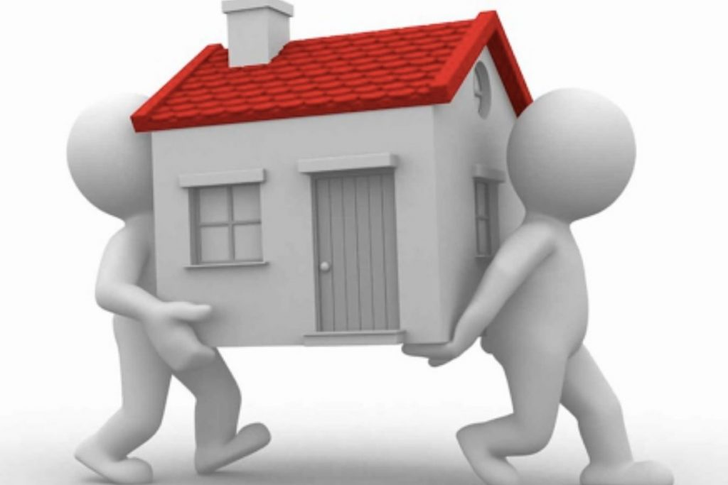 two cartoons carrying a house